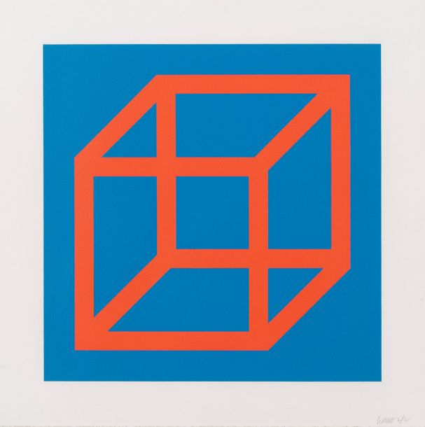 SOL LEWITT (1928-2007) Open Cube in colour on colour,2003. Linogravure en couleurs…