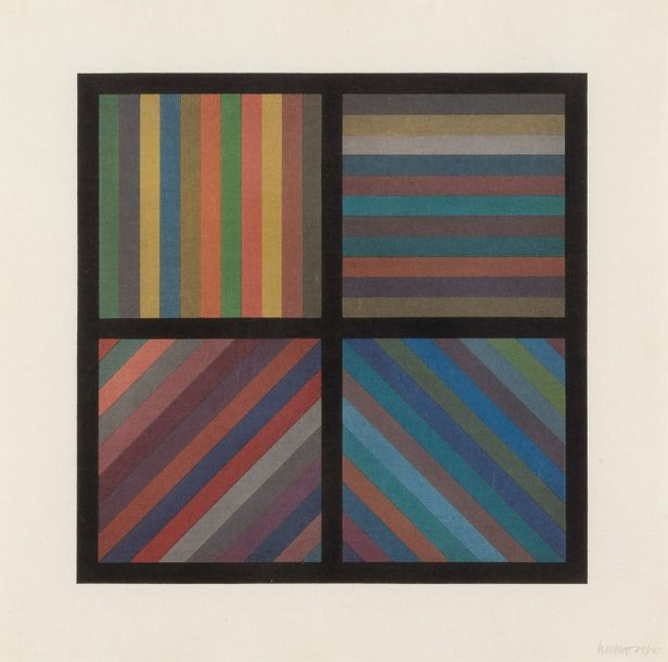 SOL LEWITT (1928-2007) Bands of Lines in Four Directions, Square plate, 1993. Bois…