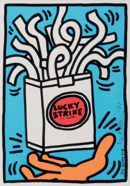 Keith Haring (1958-1990) Lucky Strike This isn't Happiness, 1987 Sérigraphie en couleur.…
