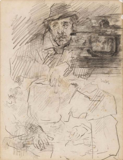 JAMES ENSOR (1860-1949) Homme assis (autoportrait?), ca 1880-1882 Mine de plomb sur…