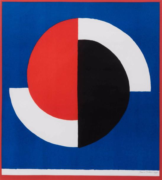 SONIA DELAUNAY (1885-1979) Composition. Galerie Bing (projet pour la galerie Bing,…