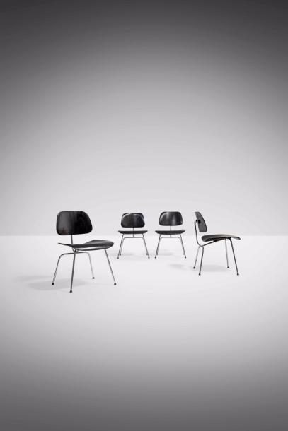 CHARLES (1907-1978) & RAY EAMES (1912-1988) DCM Dining Chair Metal Suite de quatre…