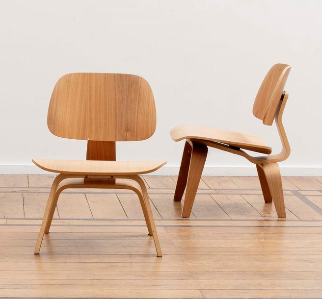CHARLES EAMES (1907-1978) & RAY EAMES (1912-1988) LCW Paire de chauffeuses Contreplaqué…