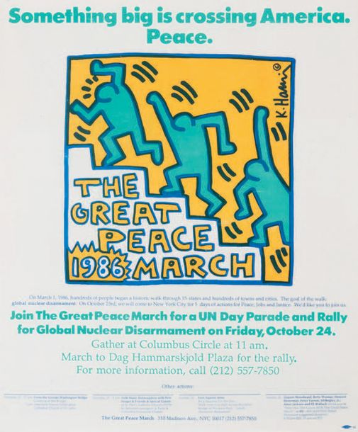 KEITH HARING (1958 - 1990) The Great Peace March, New York, 1986. Affiche offset…