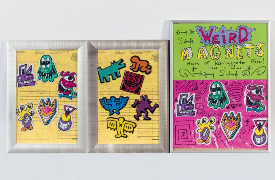 KEITH HARING (1958 - 1990) KENNY SCHARF (né en 1958) Weird Magnets. Lot composé de…