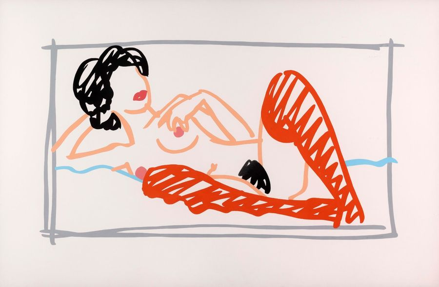 TOM WESSELMANN (1931-2004) Fast Sketch Nude with Orange Stocking, 1991 Mine de plomb…