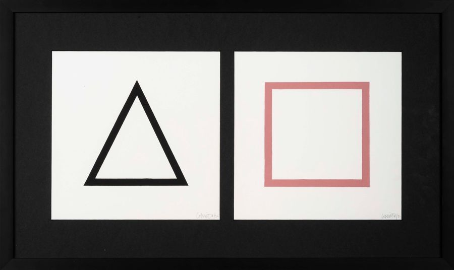 SOL LEWITT (1928-2007) Five Geometric Figures in Five Colors, 1986. Lot de deux sérigraphies…