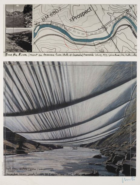 CHRISTO (né en 1935) Over the River. Lithographie en couleurs. Signée. Kleurenlitografie.…