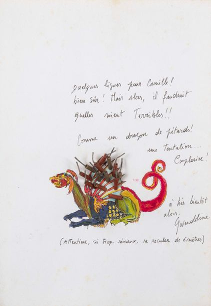 GWENDOLINE ROBIN (né en 1968) Dragon, 1996. Crayon de couleur et collage de pétards…