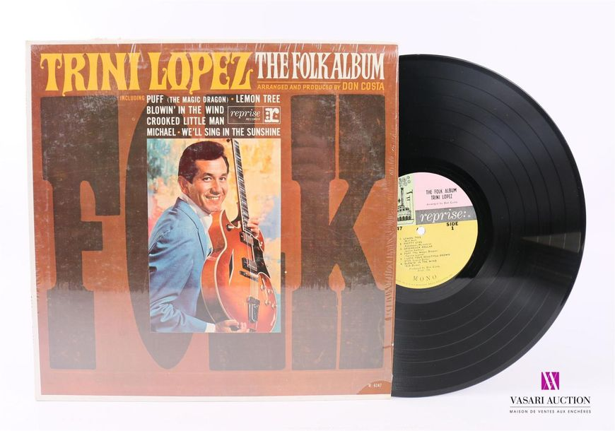 TRINI LOPEZ The folk album 1 Disque 33T sous pochette cartonnée Label : REPRISE …