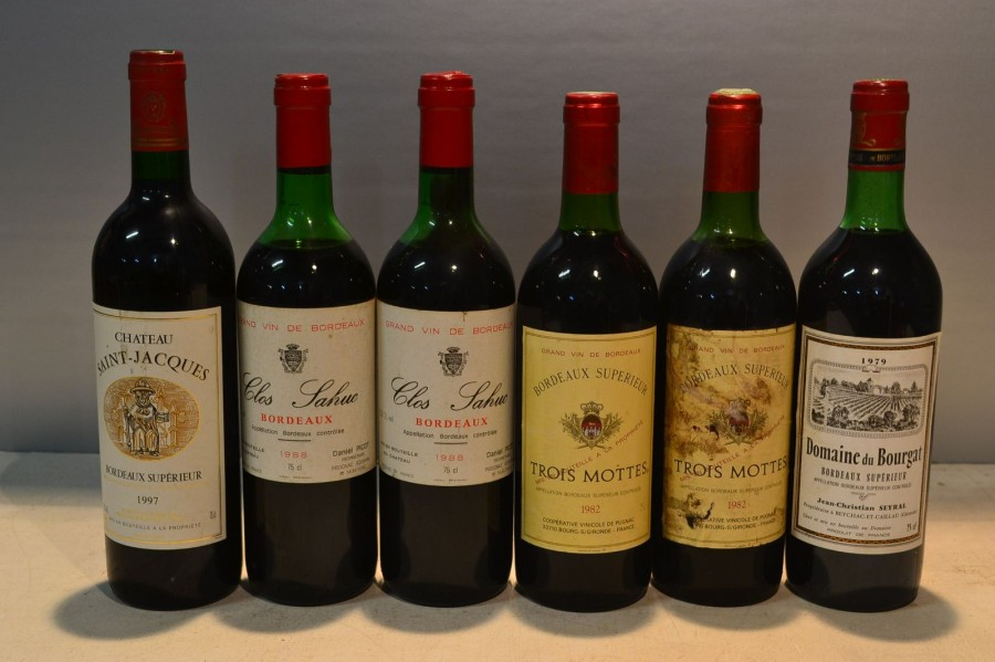 Lot de 6 blles comprenant :		  1 Blle	CH. SAINT JACQUES	Bordeaux Sup.	1997  2 Blles	CLOS…