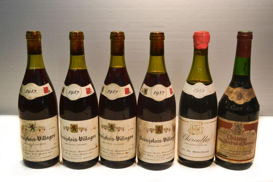 Lot de 6 blles comprenant :		  4 Blles	BEAUJOLAIS VILLAGES mise Duthel prop.		1987…