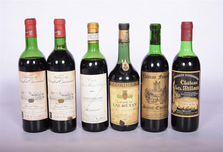 Lot de 6 blles comprenant :		 2 Blles	CH. DE TERREFORT QUANCARD	Bordeaux Sup.	1969…