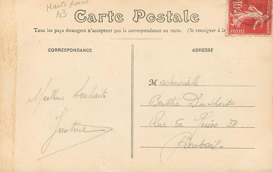 "2 CARTES POSTALES DILIGENCES : Sélection. ""982 - Le Courrier de Saugues - Halte…"