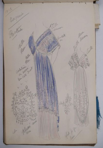 Mode XXème. Carnet de dessins de Robes pour la Maison Redfern. Portant inscripti…