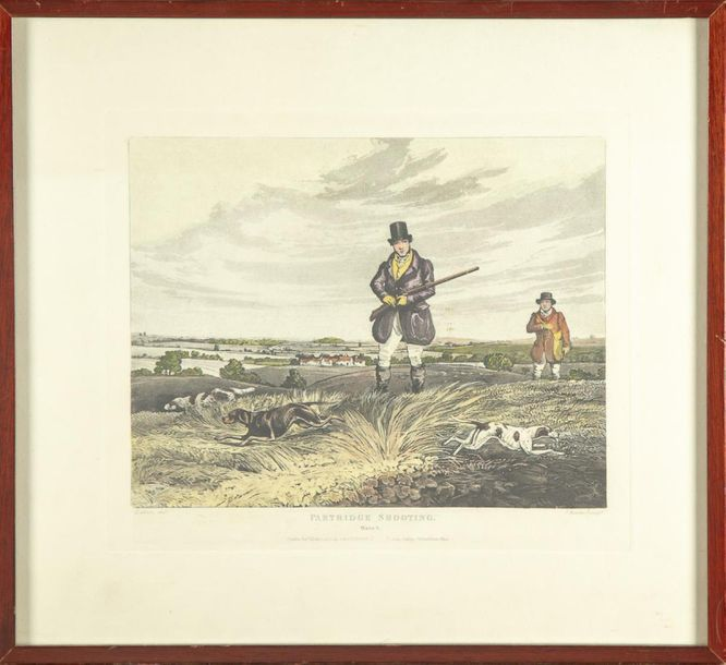 "GRAVURE ANGLAISE Gravure anglaise La chasse anglaise ""Partridge Shooting"" 36 x 39…"