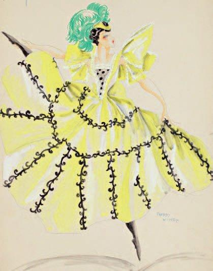 Freddy WITTOP Cancan, Moulin Rouge, robe jaune, 50 x 70 cm, SBD