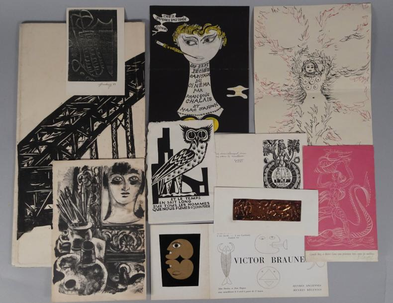 SURREALISME: Ensemble de 10 dessins, cartons d'invitation dont Victor Brauner.…