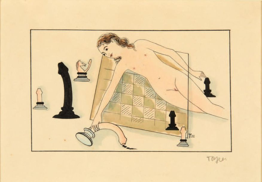 TOYEN. Composition érotique. 1932. Dessin original à l'encre rehaussé à l'aquare…