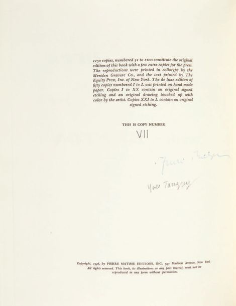 André BRETON. Yves Tanguy. English translation by Bravig Imbs. New York, Pierre …