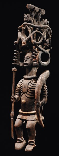 GRANDE STATUE IKENGA IBO Nigeria Bois polychrome, accidents, restaurations H_116…