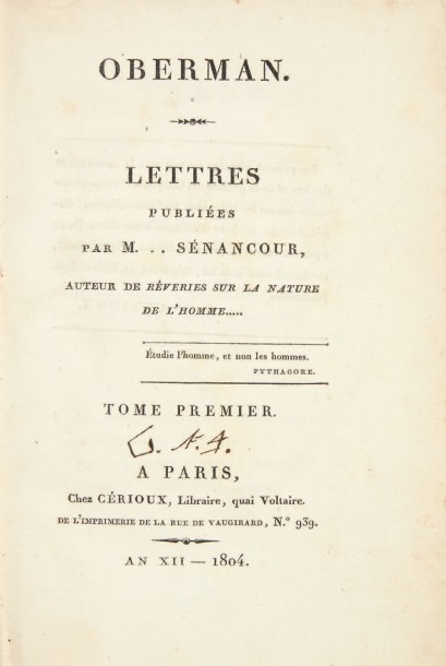 SENANCOUR, Étienne Pivert de Oberman. Paris, Cérioux, 1804. 2 volumes in-8 (197 x…