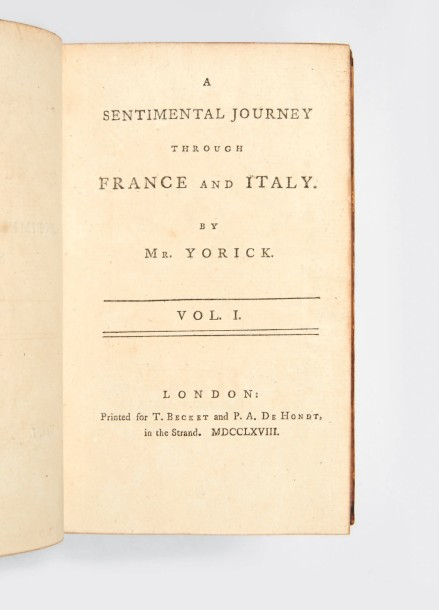 [STERNE, Laurence.] A Sentimental Journey through France and Italy. London, T. Becket…
