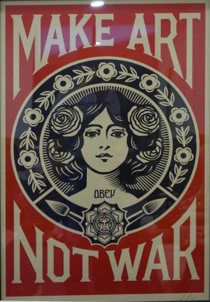 Shepard Obey Fairey (né en 1970) Make art not war, 2019 Sérigraphie en couleurs …