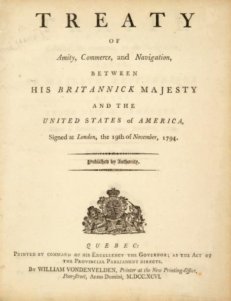 AMERICANA. - Treaty of Amity, Commerce, and Navigation, between His Britannick Majesty…