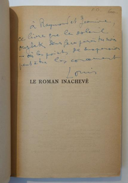 ARAGON Louis LE ROMAN INACHEVÉ. Paris, Gallimard, 1956. In-8, demi-maroquin bordeaux…