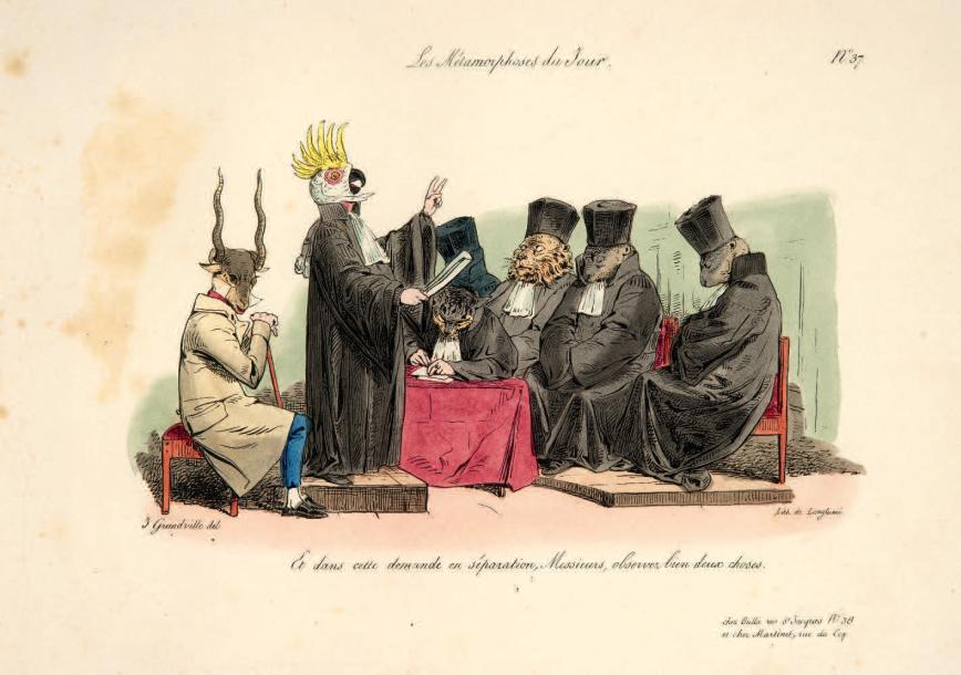 GRANDVILLE (J.-J.) Les Métamorphoses du jour. Paris, Bulla, 1829. Grand in-4 oblong,…