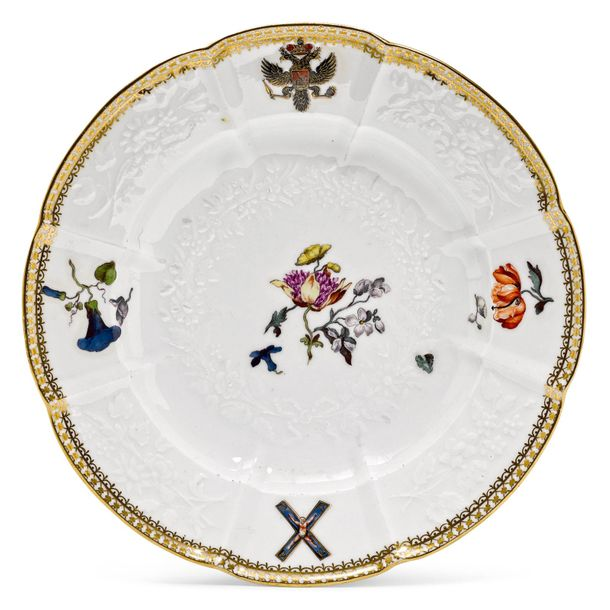 """PLATE FROM THE """"ST. ANDREW'S SERVICE"""" FOR TSARINA ELISABETH I OF RUSSIA Meissen,…"""