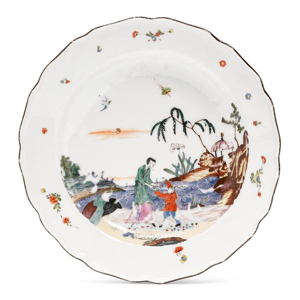 "PLATE OF THE ""EARL OF JERSEY SERVICE"" TYPE Meissen, ca. 1739 40. Paintwork, form…"