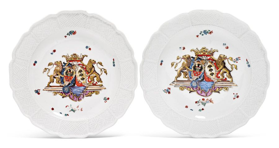 "PAIR OF PLATES FROM THE ""SULKOWSKI"" SERVICE Meissen, ca. 1735 38. Painted with t…"