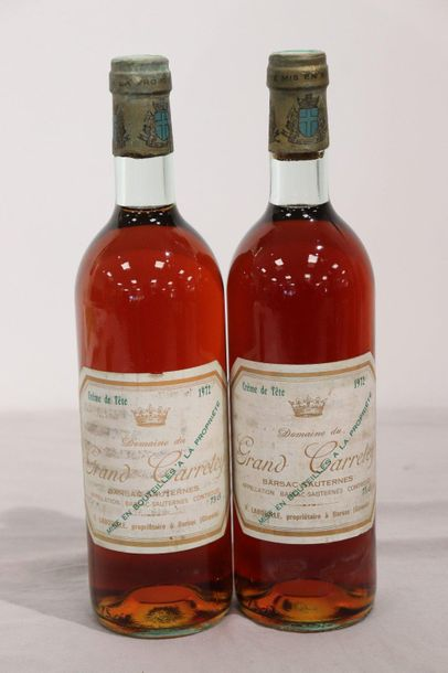 2 Blles DOMAINE DU GRAND CARRETEY Barsac 1972 2 Blles DOMAINE DU GRAND CARRETEY …