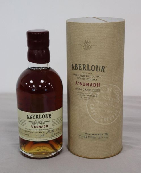 "1 Blle ABERLOUR Scotch Whisky Highland Single Malt, ""A'BUNADH"" 1 Blle ABERLOUR S…"