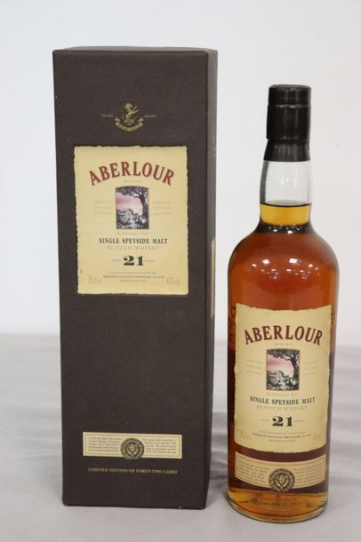 1 Blle ABERLOUR Scotch Whisky Single Speyside, 21 ans d'âge 1 Blle ABERLOUR Scot…