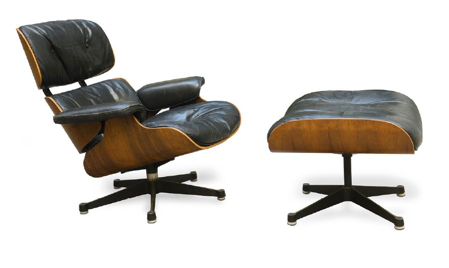 Charles (1907-1978) et Ray EAMES (1912-1988) Lounge chair 670 et son ottoman 671…