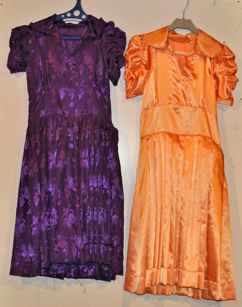 Lot de 2 robes style Art Déco 1930 violette + orange