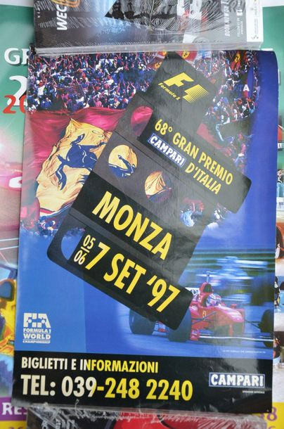 Lot de 5 affiches: Grand Prix F1 d'Italie à Monza 1997 + Grand Prix F1 de France…