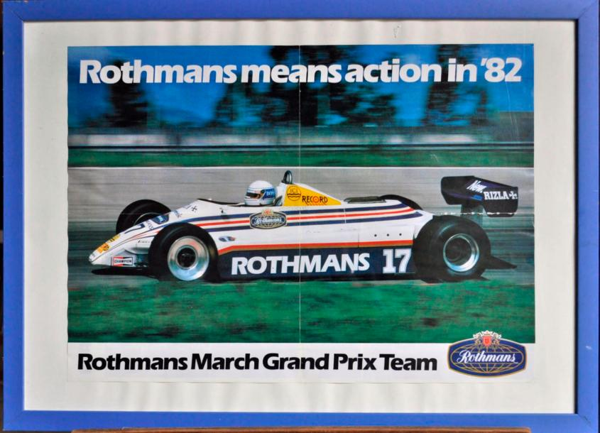 MARCH Lot de 7 posters: March 792 BMW, M. Surer. Poster encadré. 40x50cm. March 711…