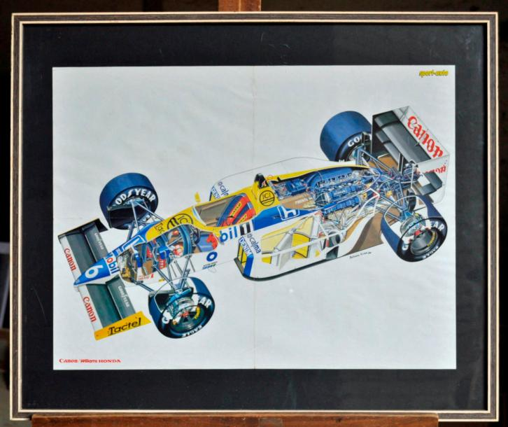 WILLIAMS Lot de 4 posters: Williams FW 11 , Eclaté. Poster encadré. 50x70cm. Williams…