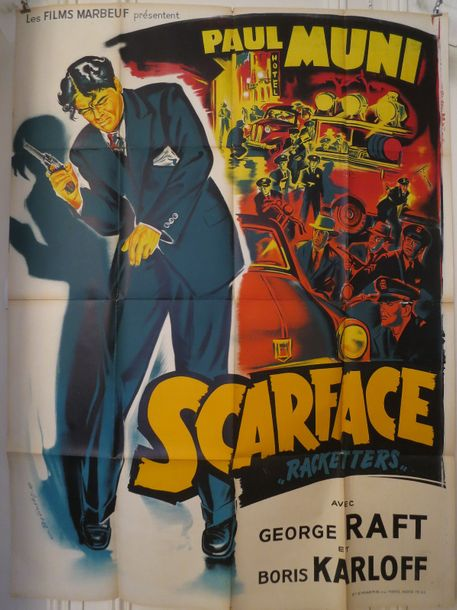 """SCARFACE"" (1963) de Howard Hawks avec Paul Muni, George Raft, Boris Karloff. Affiche…"
