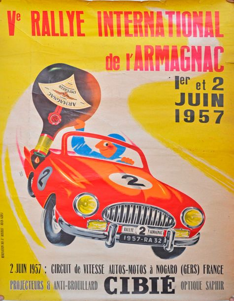 Affiche originale du Rallye International de l'Armagnac 1957 (58x79cm)