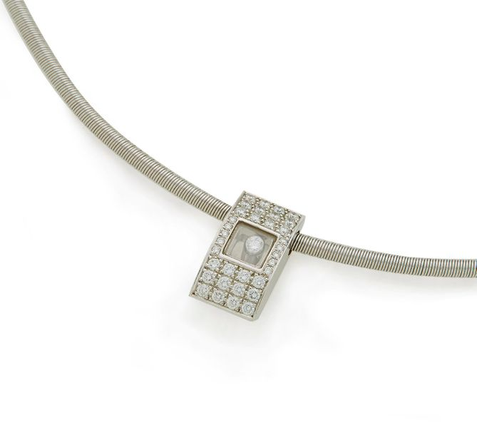 CHOPARD, Collier cable en or gris 18K (750/°°), collection Icecube, retenant un …