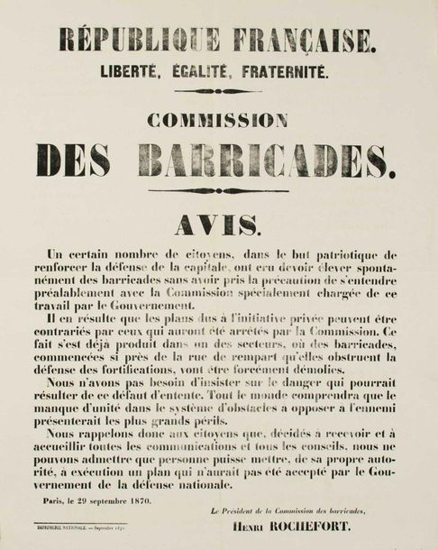 SIÈGE DE PARIS. «COMMISSION DES BARRICADES.» Paris le 29 Septembre 1870. Avis d'…