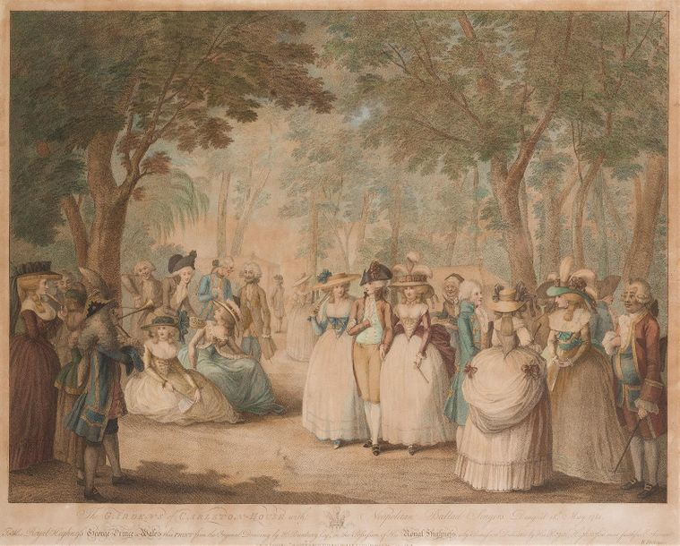 D'APRES H. W. BUNBURY (1750 1811) The garden's of Carton House Gravure couleur p…
