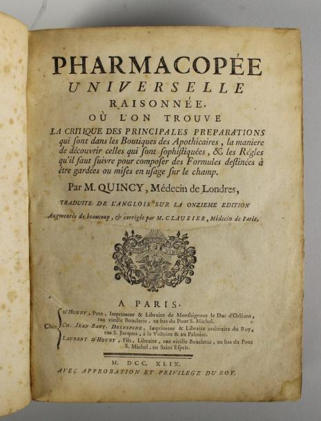 QUINCY Pharmacopée universelle. Paris, d'Houry, 1749 In-4, reliure de l'époque r…