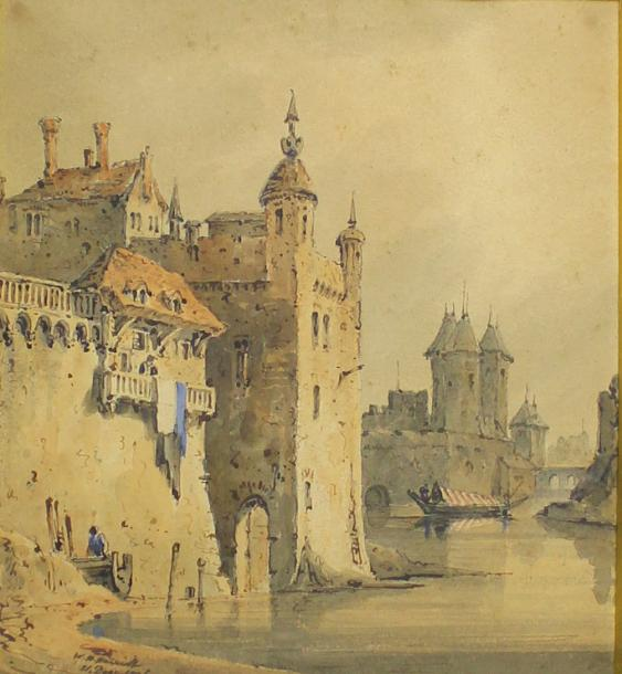 William Henry HARRIOTT (? - 1839) Vue de ville. Aquarelle sur papier. 22,5 x 20 …