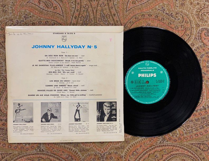 "Johnny Hallyday 1 disque 25 cm Johnny Hallyday ""Da Dou Ron Ron, n°5""  B76576, Ph…"